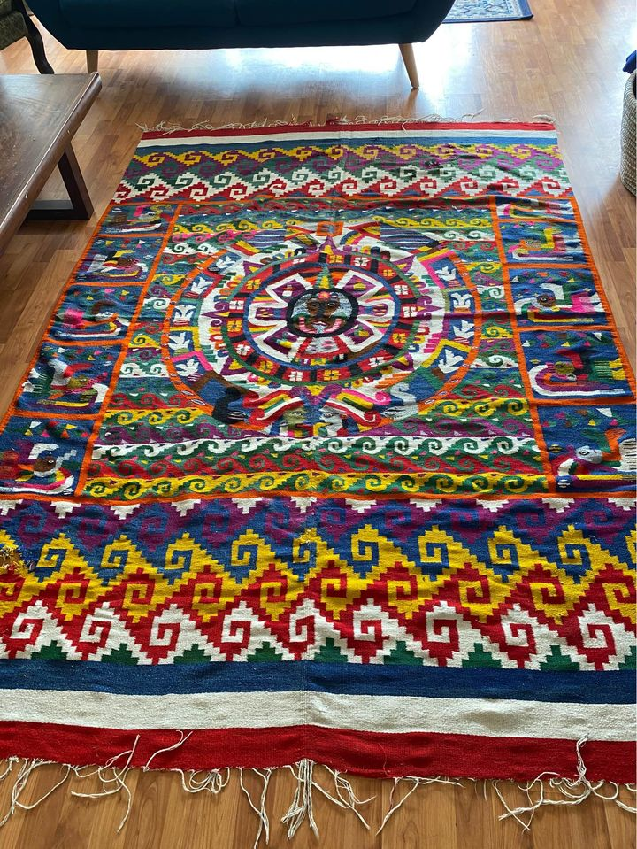 Vintage Colorful Handwoven Incan Peruvian Boho Chic Bohemian Area Rug