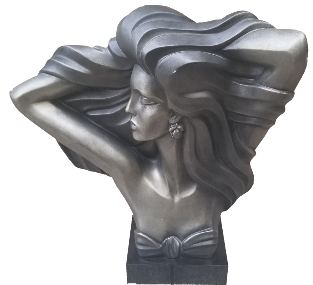 Vintage 80s Does Deco Lady Bust Sculpture