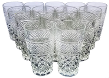 "Load image into Gallery viewer, Vintage Set of 14 Anchor Hocking Pressed Glass ""Wexford"" Juice Highball Glasses"