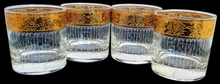 "Load image into Gallery viewer, Vintage Set of 4 Culver ""Tyrol"" 22K Gold Rimmed Rocks Old Fashion Glasses"