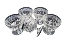 "Load image into Gallery viewer, Vintage Set of 5 Anchor Hocking Pressed Glass ""Wexford"" Champagne Sherbert Goblet Glasses"