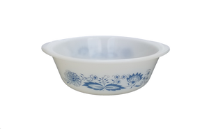 Blue Floral Glasbake Milk Glass Round Baking Dish