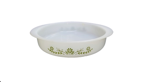 Vintage Milk Glass Glasbake Green Floral Round Baking Dish