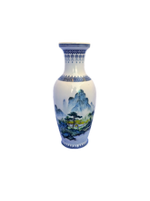 Load image into Gallery viewer, Vintage Japanese Early Postwar Period Bone China Landscape Scene Porcelain Vase