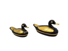 Load image into Gallery viewer, Vintage Steampunk Black Lacquer with Gold Duck Trinket Boxes - a Pair