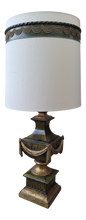 Load image into Gallery viewer, 1960s Neoclassical Style Olive Green and Gold Porcelain Urn Lamp