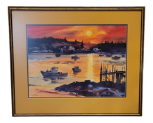 Load image into Gallery viewer, Mid-Century Modern Carver's Harbor, Maine Watercolor Painting by K. Forbes