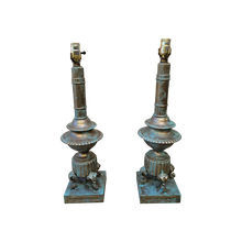 Load image into Gallery viewer, Faux Verdigris Finish Brass Urn Lamps - a Pair