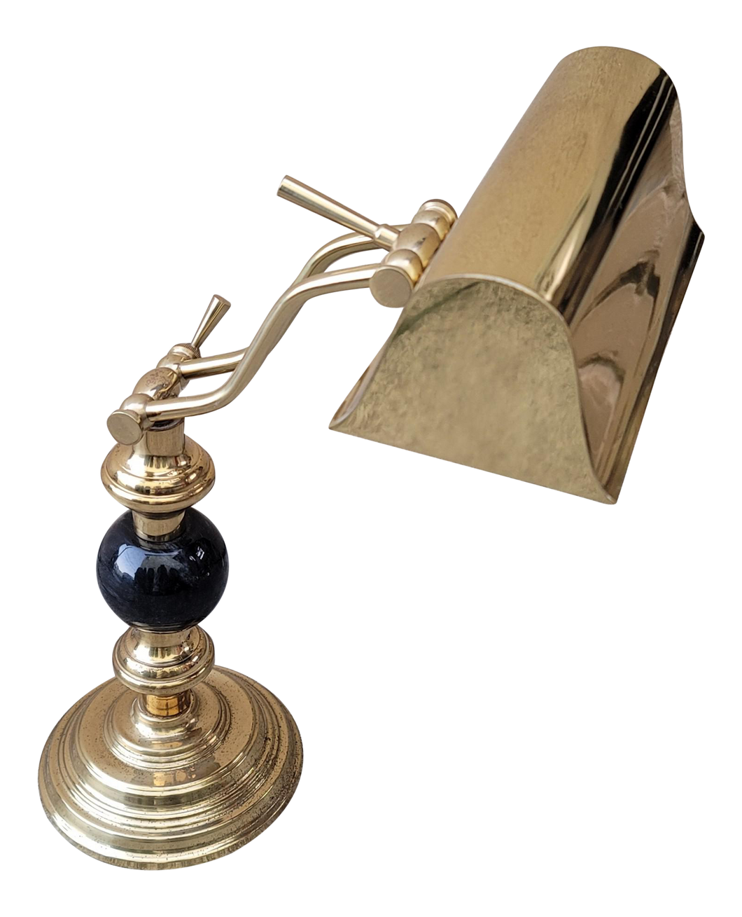 Vintage Brass and Black Marble Banker's Piano Lamp
