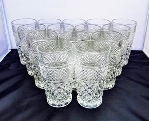 "Vintage Set of 14 Anchor Hocking Pressed Glass ""Wexford"" Juice Highball Glasses"