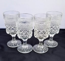 "Load image into Gallery viewer, Vintage Set of 4 Anchor Hocking Pressed Glass ""Wexford"" Water Goblet Glasses"