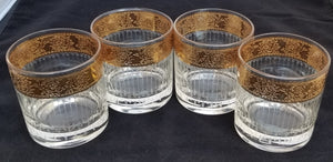 "Vintage Set of 4 Culver ""Tyrol"" 22K Gold Rimmed Rocks Old Fashion Glasses"