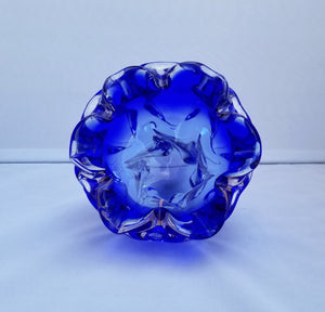 Vintage Modern Josef Hospodka for Chribska Clear and Blue Decorative Bohemian Glass Bowl