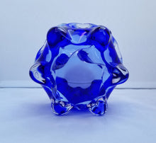 Load image into Gallery viewer, Vintage Modern Josef Hospodka for Chribska Clear and Blue Decorative Bohemian Glass Bowl