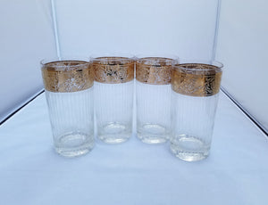 "Vintage Set of 4 Culver ""Tyrol"" 22K Gold Rimmed Highball Tumbler Glasses"
