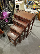 Load image into Gallery viewer, Vintage Hand-Carved Ornate Chinese Export Rosewood Chinese Nesting Tables
