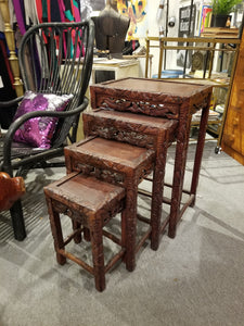 Vintage Hand-Carved Ornate Chinese Export Rosewood Chinese Nesting Tables