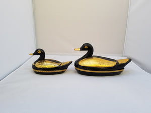 Vintage Steampunk Black Lacquer with Gold Duck Trinket Boxes - a Pair