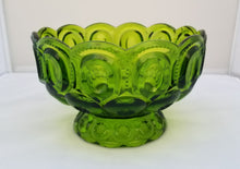 Load image into Gallery viewer, Vintage L.E. Smith Moon and Stars Green Decorative Footed Serving Bowl