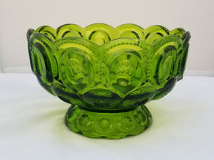 Vintage L.E. Smith Moon and Stars Green Decorative Footed Serving Bowl