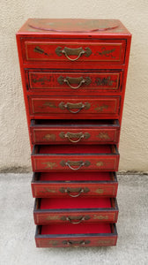 Antique Reproduction Red Chinese Jewelry Box