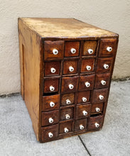 Load image into Gallery viewer, Antique Primitive Early American Patinated Apothecary Cabinet With Porcelain Handles