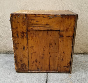 Antique Primitive Early American Patinated Apothecary Cabinet With Porcelain Handles