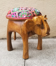 Load image into Gallery viewer, Petite Boho Chic Hand Carved Elephant Ottoman Upholstered Stool