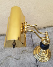 Load image into Gallery viewer, Vintage Brass and Black Marble Banker's Piano Lamp