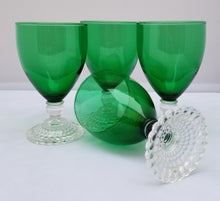 "Load image into Gallery viewer, Vintage 50s Set of 4 Anchor Hocking Green ""Bubble Foot"" Wine Glasses"