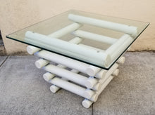 Load image into Gallery viewer, Vintage Chubby Totally Tubular Postmodern Industrial White Metal and Glass Side Table