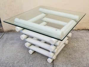 Vintage Chubby Totally Tubular Postmodern Industrial White Metal and Glass Side Table
