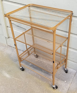 Vintage Flower Power 3-Tier Folding Bar Cart