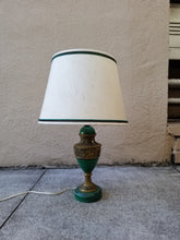 Load image into Gallery viewer, Vintage Petite Emerald Green Ceramic Urn Shaped Neoclassical Lamp