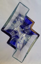 Load image into Gallery viewer, Vintage Postmodern Polish Cobalt Blue Geometric Glass Vase