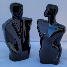 Load image into Gallery viewer, Vintage 80s Balkweill-Style Postmodern Black Ceramic Abstract Man and Woman Statues - a Pair