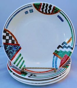 Vintage 80s Memphis Modern Entree Plates - Set of 4