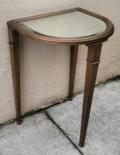 Load image into Gallery viewer, Vintage Postmodern Petite Demilune Bronzed Finish Glass Topped Metal Side Table