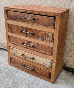 Primitive Vintage Industrial Style Petite Table Top Jewelry Chest
