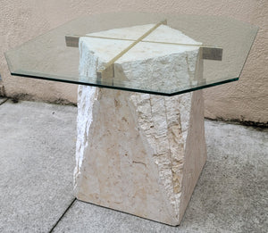 Tesellated Stone Travertine, Brass, and Glass Postmodern Side Table