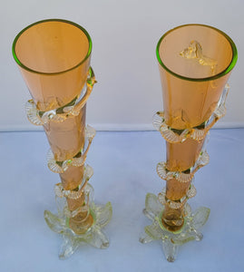 Antique Victorian Handblown Orange and Lime Green Iridescent Vaseline Glass Vases - a Pair