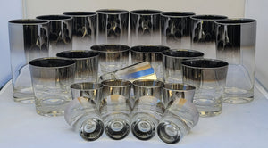 Queen's Lustreware Vitreon Silver Ombre Fade Highball Collins, Lowball Old Fashioned & Shot Glasses Glassware Set - 24 Pieces
