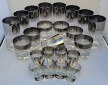 Load image into Gallery viewer, Queen's Lustreware Vitreon Silver Ombre Fade Highball Collins, Lowball Old Fashioned & Shot Glasses Glassware Set - 24 Pieces