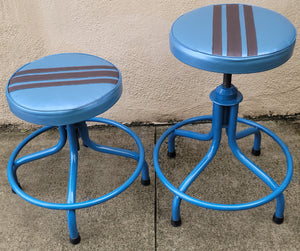 Blue With Black Stripe Vintage-Style Industrial Adjustable Height Stools - a Pair