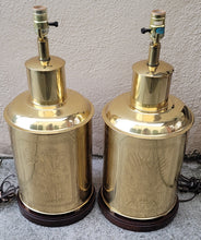 Load image into Gallery viewer, Vintage Chinoiserie Brass Tea Tin Table Lamps - a Pair