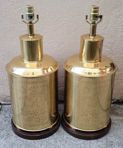 Vintage Chinoiserie Brass Tea Tin Table Lamps - a Pair