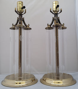 Vintage Triple Column Glass and Brass Princess House Buffet Lamps - a Pair