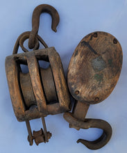 Load image into Gallery viewer, Antique Vintage Industrial Block and Tackle Pulleys - a Pair