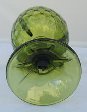 Load image into Gallery viewer, Vintage Olive Avocado Green Indiana Glass Duette Pattern Decorative Goblet