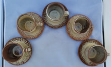 "Load image into Gallery viewer, Vintage Frankoma ""Mayan Aztec Desert Gold"" Tea Cups - Service for 5"